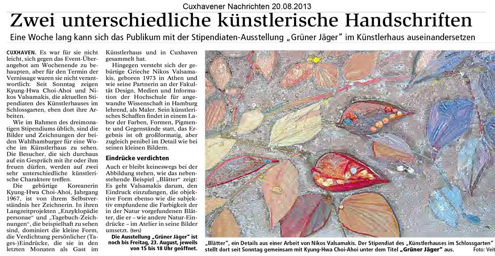 Kyung-Hwa Choi-Ahoi und Nikos Valsamakis - Grüner Jäger - Künstlerhaus im Schlossgarten in Cuxhaven