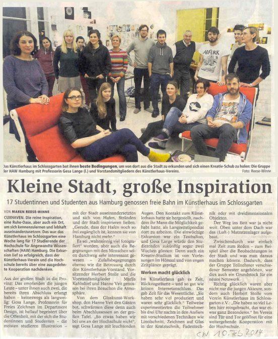 Studentinnen und Studenten der HAW Hamburg zu Besuch im Künstlerhaus im Schlossgarten in Cuxhaven