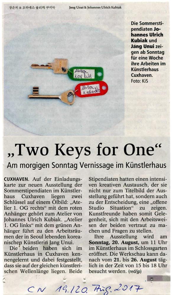 Artikel in den Cuxhavener Nachrichten zur Ausstellung im Künstlerhaus im Schlossgarten in Cuxhaven