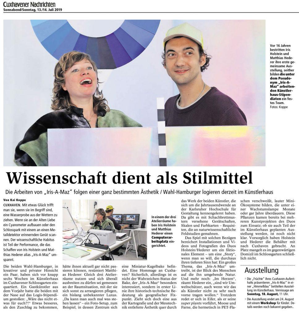 Wissenschaft dient als Stilmittel - Zeitungsbericht über die Gastkünstler IRIS-A-MAZ Iris Holstein und Matthias Hederer im Künstlerhaus im Schlossgarten in Cuxhaven