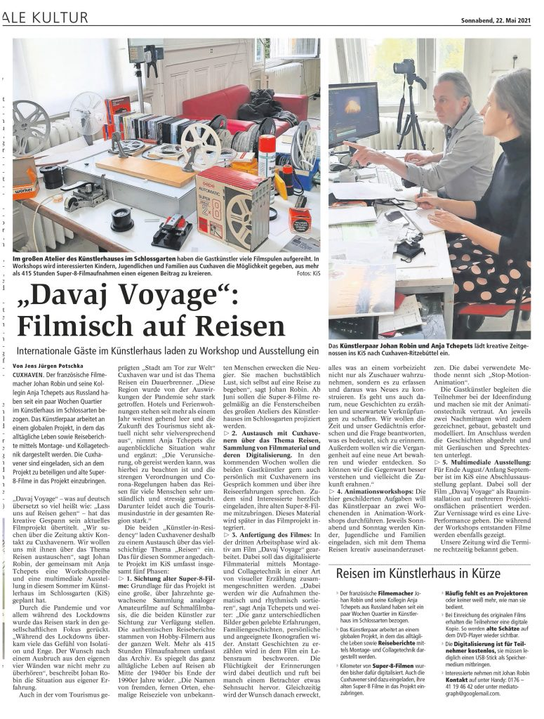 """Artikel """"Davaj Voyage"""": Filmisch auf Reisen über die Gastkünstler im Künstlerhaus Cuxhaven Johan Robin und Anja Tchepets - aus den Cuxhavener Nachrichten vom 22. Mai 2021"""